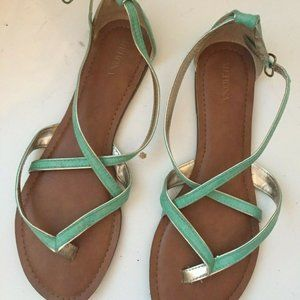 Mint/Teal Green Strappy Ankle Sandals 9 Merona